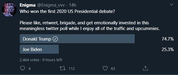 Twitter poll Presidential debate 2