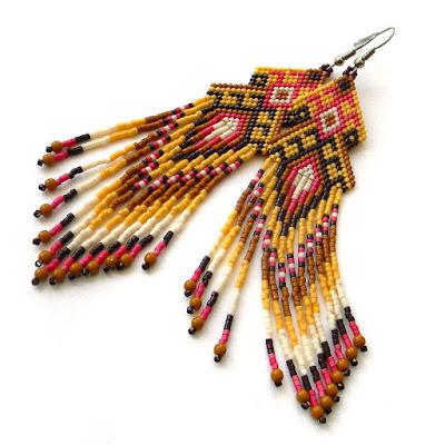 beaded earrings beadwork seed bead earrings beadwoven earring jewelry