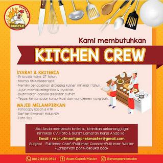 Info Lowongan Kerja Kitchen Crew Geprek Master