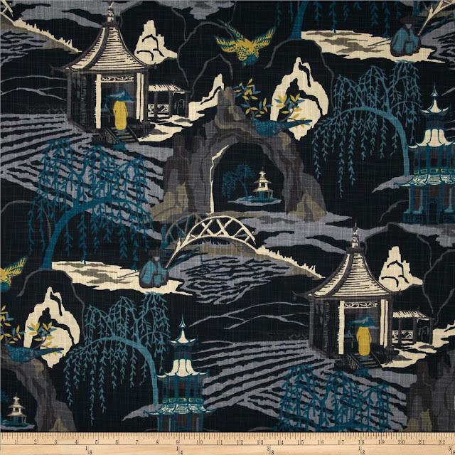 Robert Allen Neo Toile Indigo Fabric