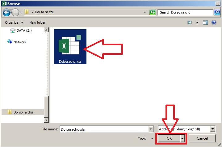 Chọn đường dẫn đến file Add-Ins đổi số của Excel
