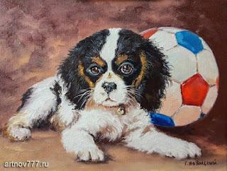 Щенок-и-мячик-картина