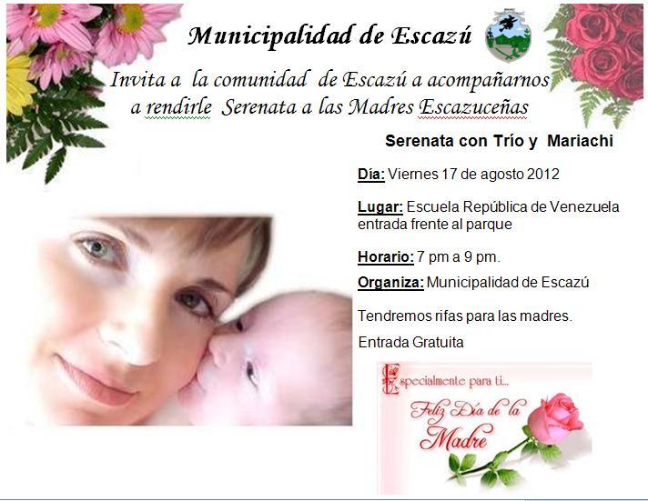 Invitacion DÍa De Las Madres RegiÓn: Escazu News: Serenata A Las Madres Escazuceñas