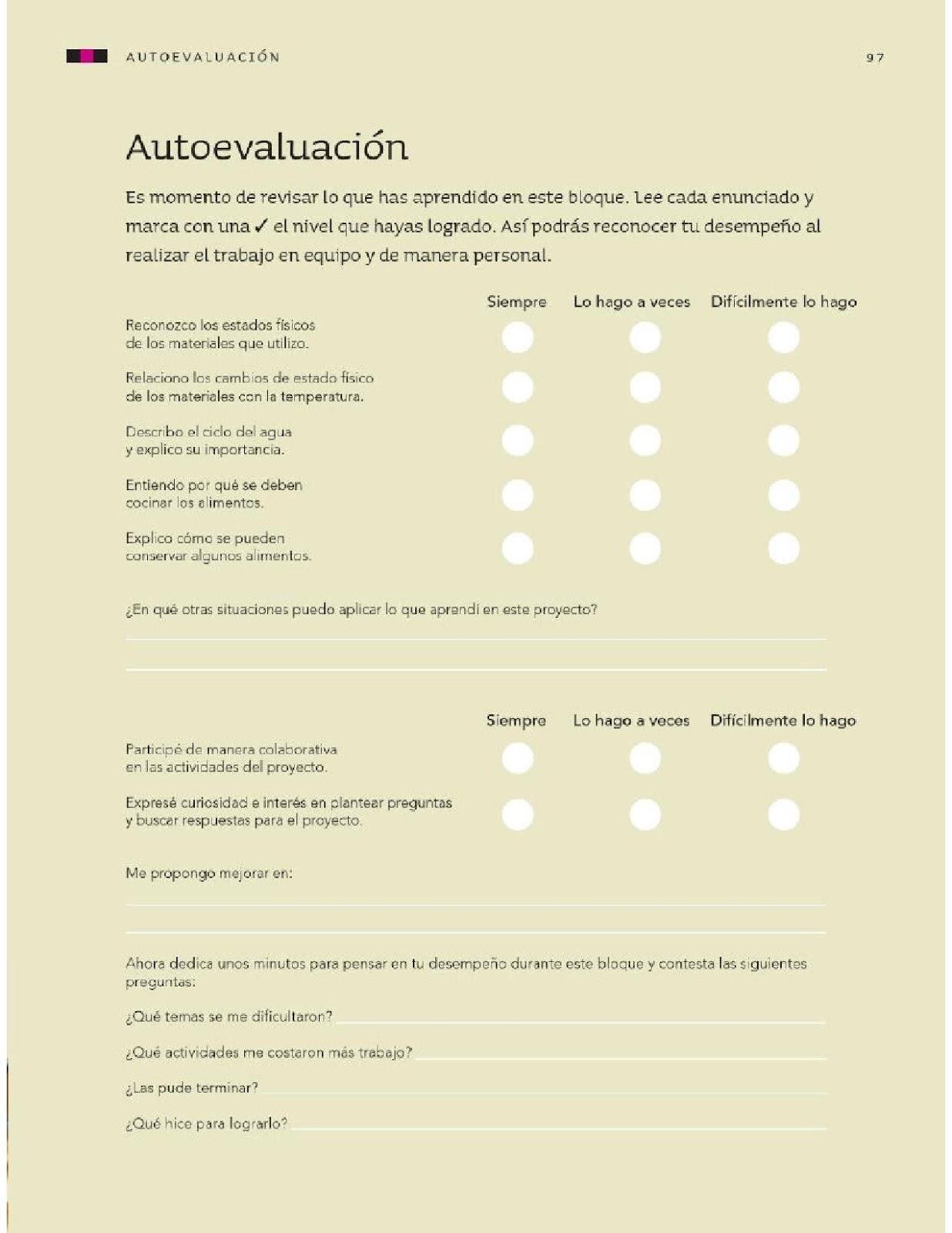 Autoevaluación - Bloque III - Ciencias Naturales - 4to