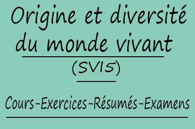Origine Et Diversité Du Monde Vivant (SVI5) Cours // Td Et Exercices // Résumés // Examens