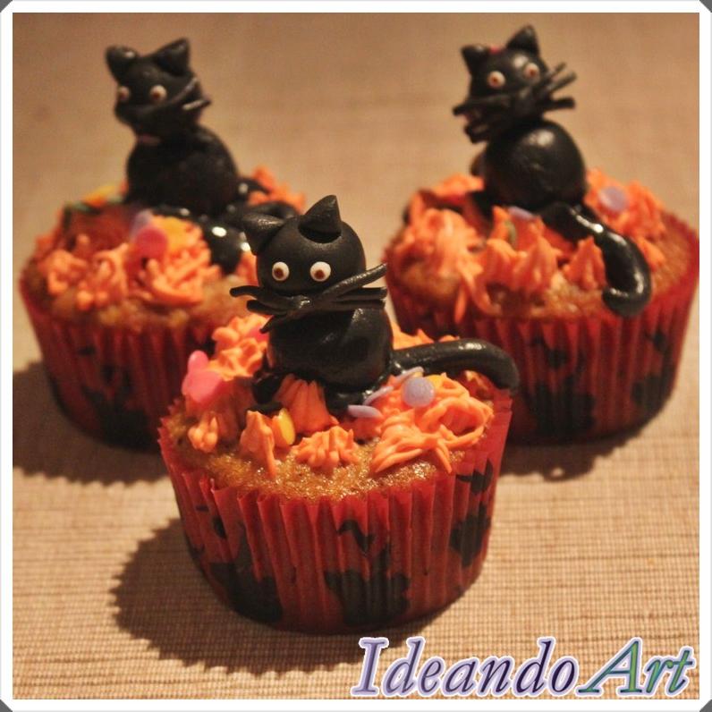 Cupcakes gatos Halloween
