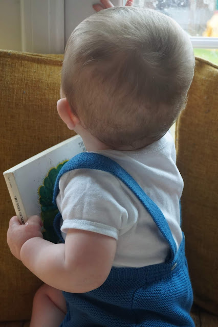 baby looking out of a window and holding a book