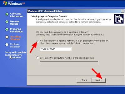 setting domain waktu instal ulang windows xp