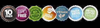 10 free, TPO free, Cruelty Free, Organicos