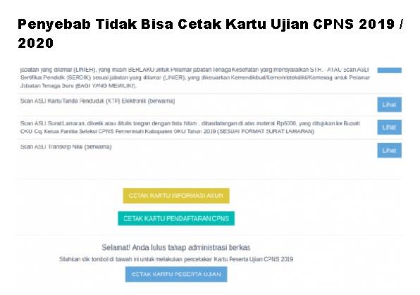 Penyebab Tidak Bisa Cetak Kartu Ujian CPNS 2019 / 2020