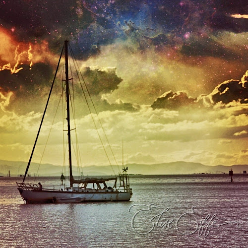 Across the Universe - Sailing Boat & Stars at Sunset - Universe texture filter - Stradbroke Island