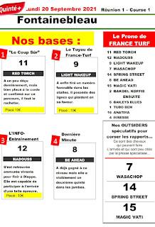 Pronostic quinté+ pmu Lundi Paris-Turf TV-100 % 20/09/2021