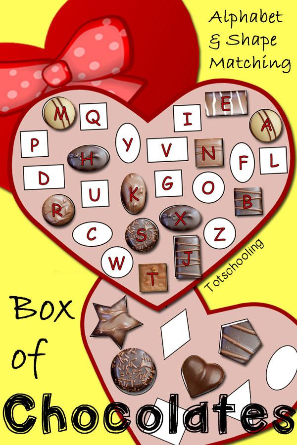 Box of Chocolates Alphabet & Shape Matching | Totschooling ...