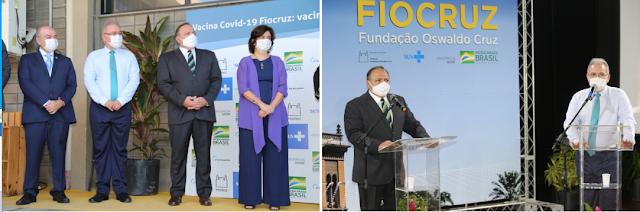 Ministro Pazuello e Queiroga recebem primeiras doses da vacina da AstraZeneca/Oxford produzidas na Fiocruz