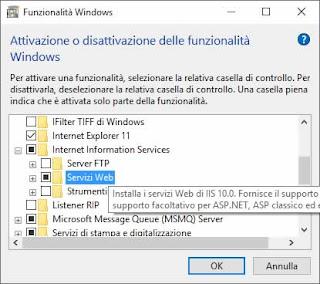 Come stoppare definitivamente IIS su Windows 10
