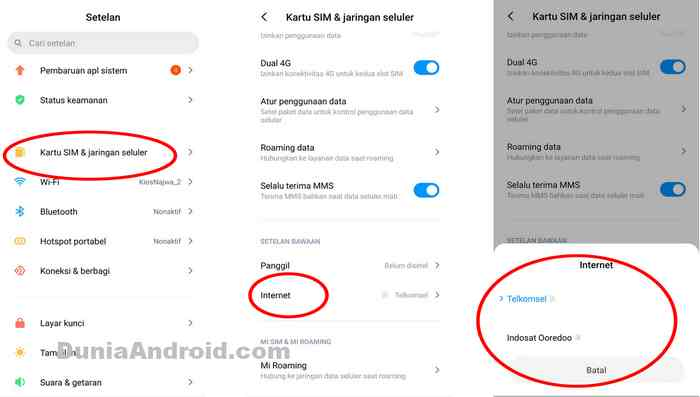Menu ubah internet SIM Card 1 / 2 Redmi Note 8 dan 9