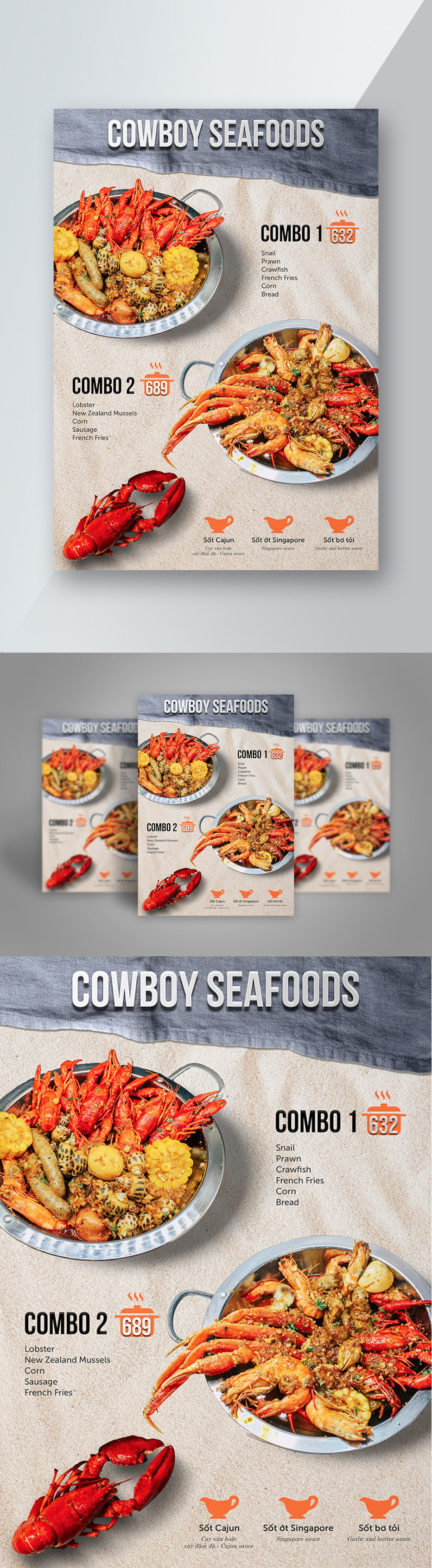 PSD file seafood flyer open source food poster