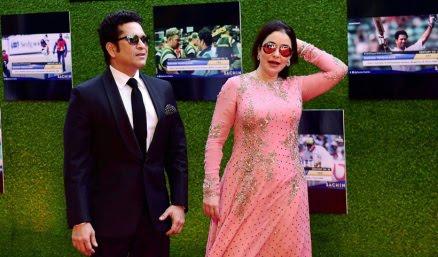 Sachin Tendulkar and Anjali Tendulkarat the premiere of his biopic — 'Sachin: A Billion Dreams'.