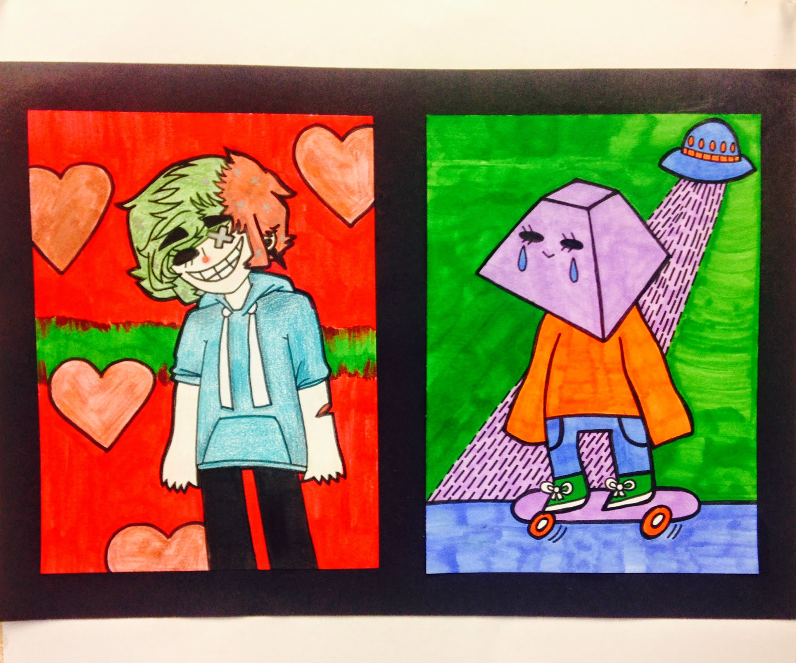 Sylvandale Middle School Art Class Keith Haring Triptych