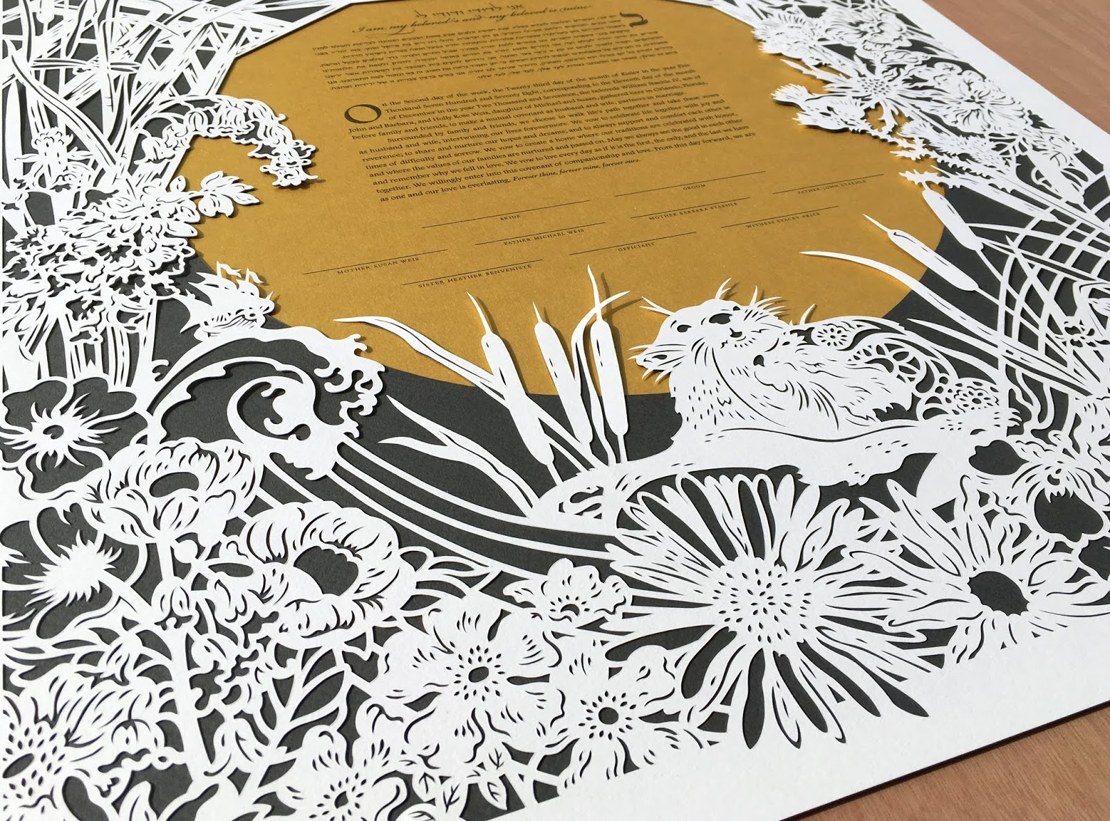 custom papercut for wedding featuring adventuring, fairytale spirit of the loving couple