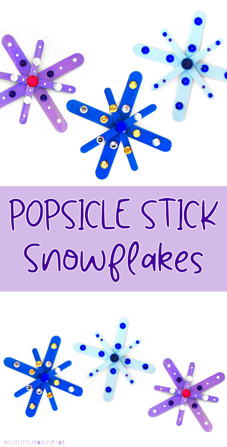 Popsicle stick snowflakes. Easy snowflake craft for kids.