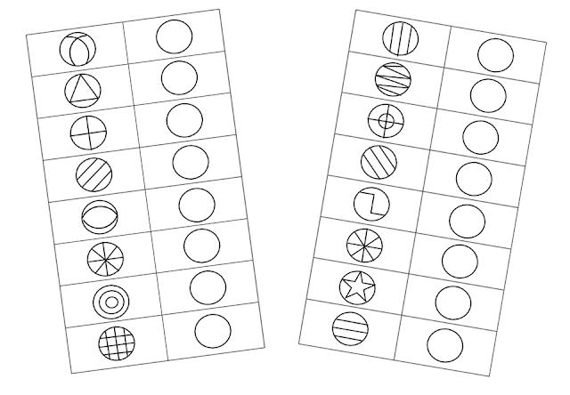 na zdjęciu dwie strony z ćwiczeniami grafomotorycznymi na których trzeba uzupełnić elementy z prawej strony kartki o brakujące wewnątrz kreski jak we wzorze po lewej stronie