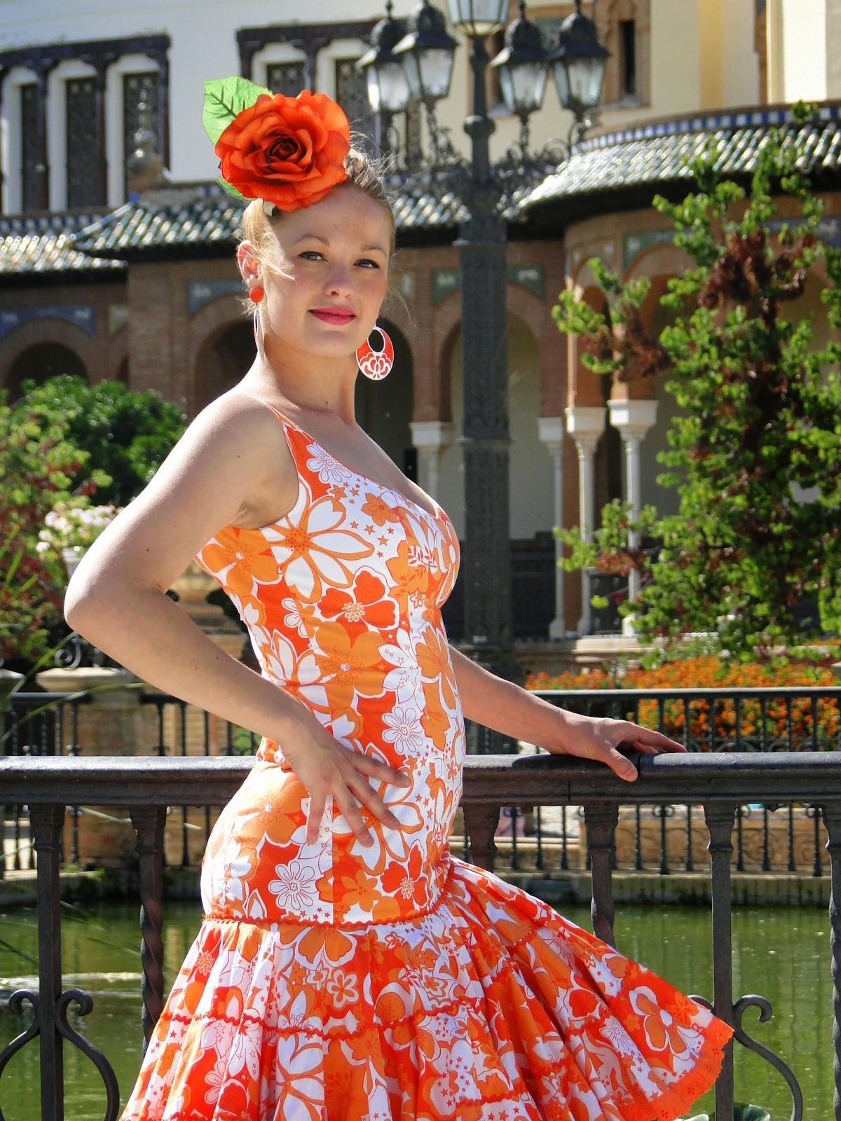 Traje de flamenca naranja