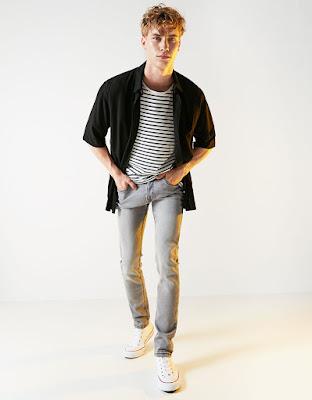 Gri skinny jeans-dar kesim