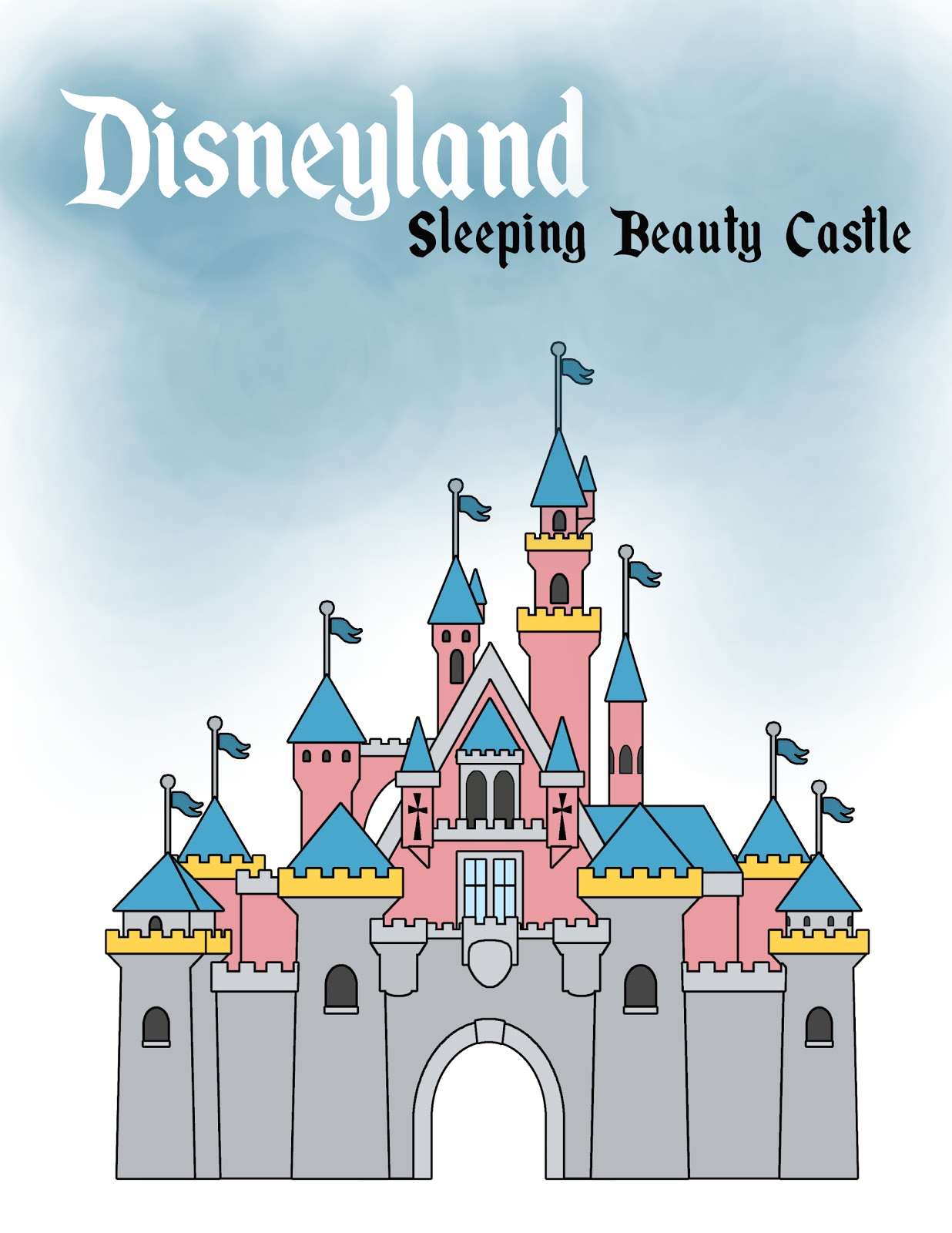 Disneyland castle drawing Disney Pinterest