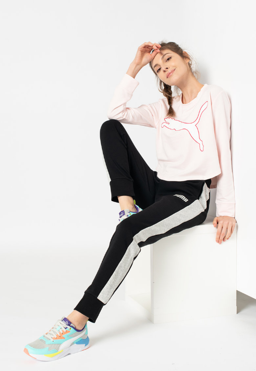Puma Pantaloni sport dama negri cu insertii albe