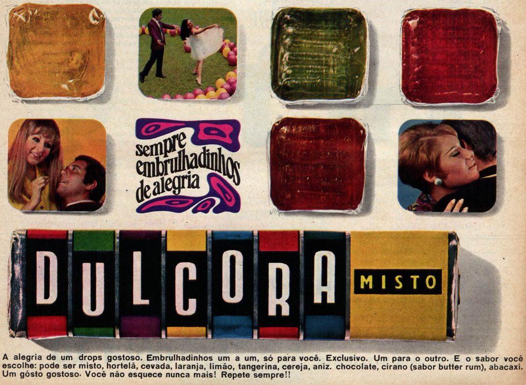 Propaganda antiga do Drops Dulcora apresentando seu mix de sabores no final dos anos 60