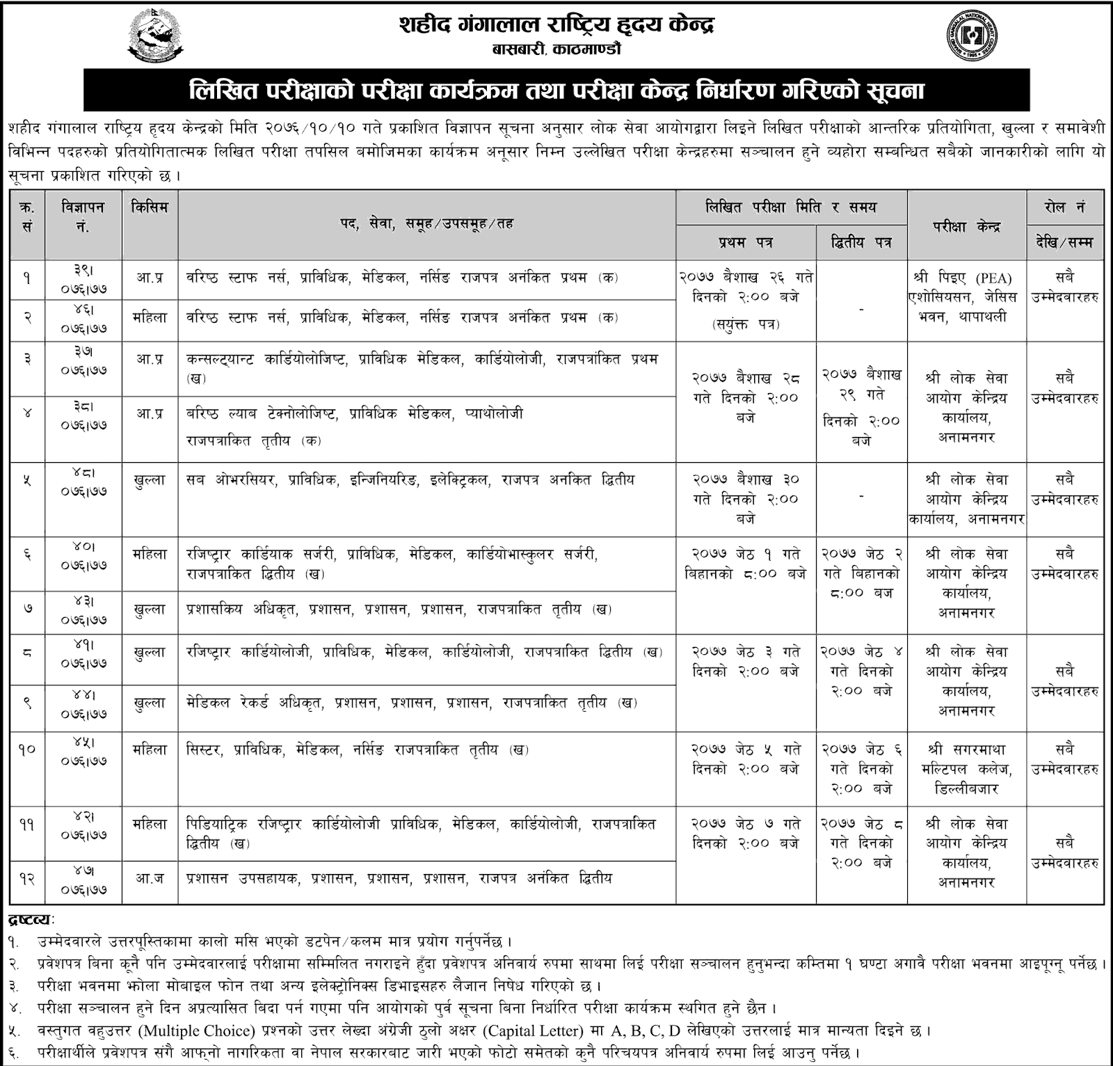 Shahid Gangalal National Heart Center Written Exam Routine and Centers