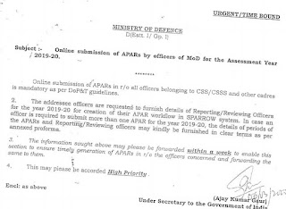 Online submission of APARs by officers of MoD for the Assessment Year 2019-20