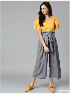 Women Layered Crepe Top & Culottes Set