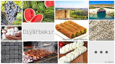 Diyarbakır'ın meşhur şeylerini gösteren resimlerden oluşan kolaj