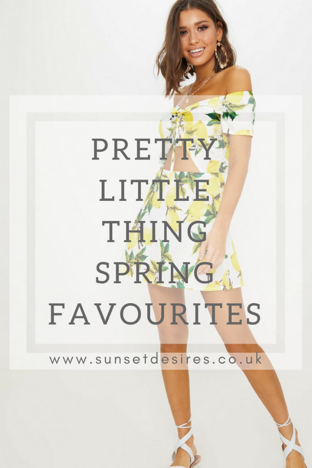Banner with Pretty Little Thing Spring Favourites Text and a Model in a Lemon Print Dress