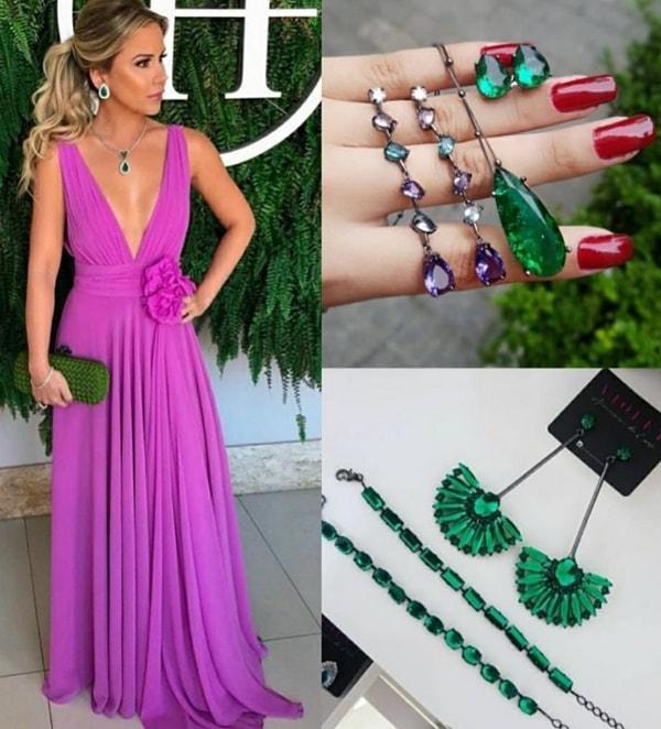 qual cor de acessórios usar com vestido violeta lilás