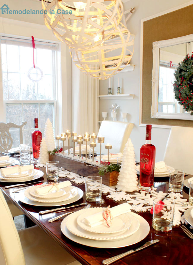 tablescape with red and white accents for Christmas