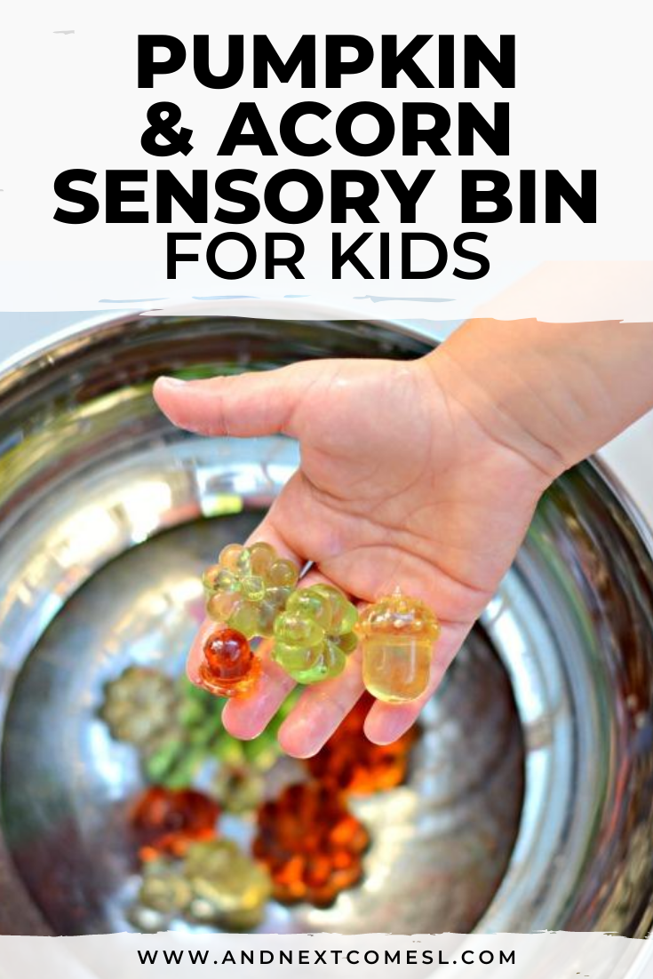 Super simple pumpkin and acorn sensory bin activity with water that's great for toddlers and preschoolers