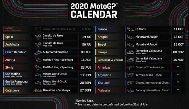 Jadwal Terbaru MotoGP 2020 Resmi, kalendar motogp, calendar motogp 2020