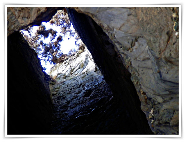 Hole in roof of cave at Charlestown, Cornwall