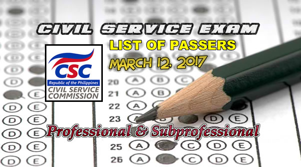 List of Passers Civil Service Exam March 12, 2017 Professional & Subprofessional Levels