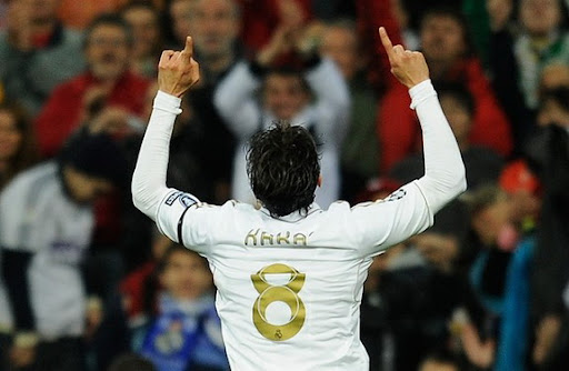 Kaká celebrates after scoring for Real Madrid against APOEL Nicosia in the Champions League