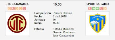 UTC Cajamarca vs Sport Rosario en VIVO