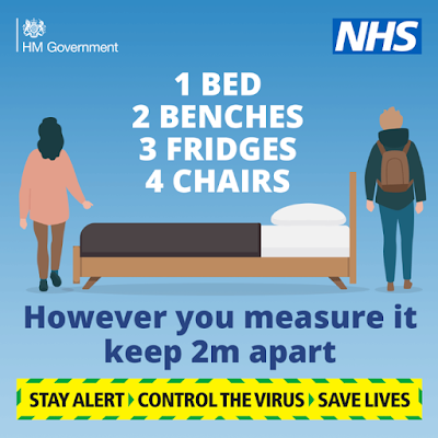 1 bed 3 fridges UK Govt advice for how far to be apart
