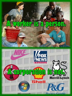 A worker is a person.  A corporation is not.