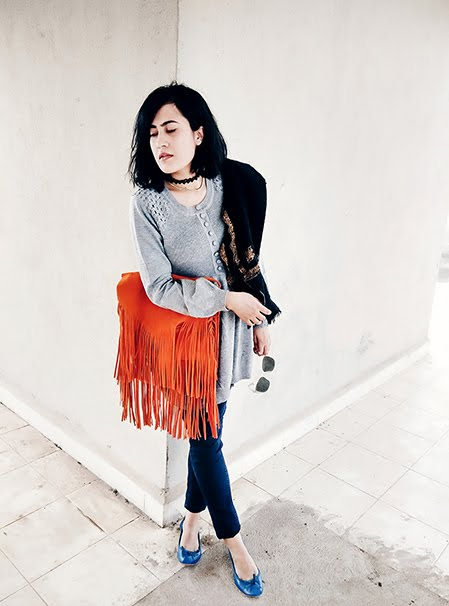 fringe shoulder bag, fashion blogger,choker