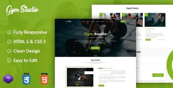 Gym Studio Responsive Onepage Bootsrap emplate
