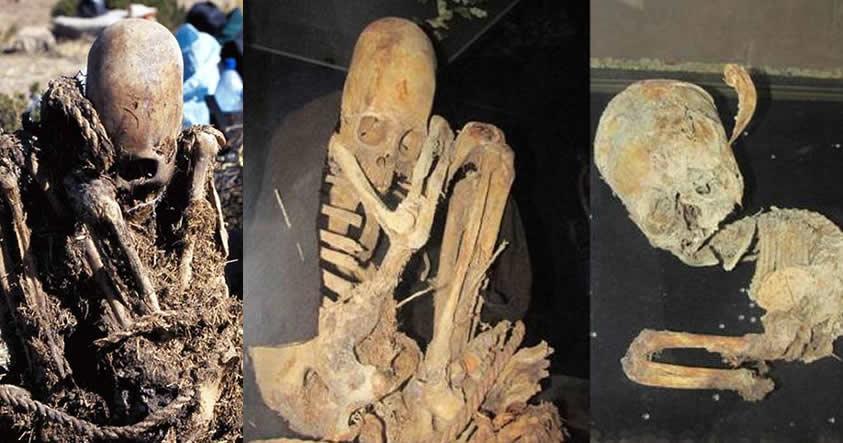 Cráneos alargados: Mujer y un feto de siete o nueve meses encontrados en Patapatani, Bolivia.
