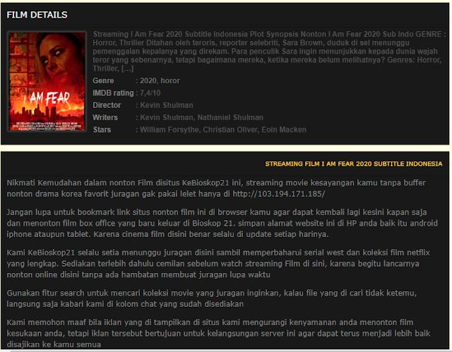 Nonton Film I Am Fear (2020) Sub Indo Full Movie   Link 2021